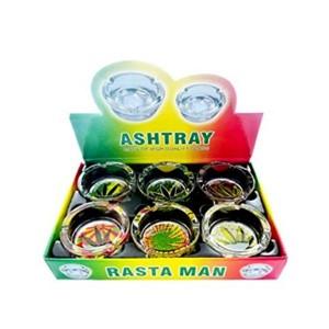 6 X Rasta Man Glass Ash Trays - DK3055-1